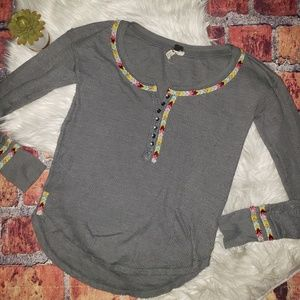 Free People Tops - FP Embroidered Henley Blouse